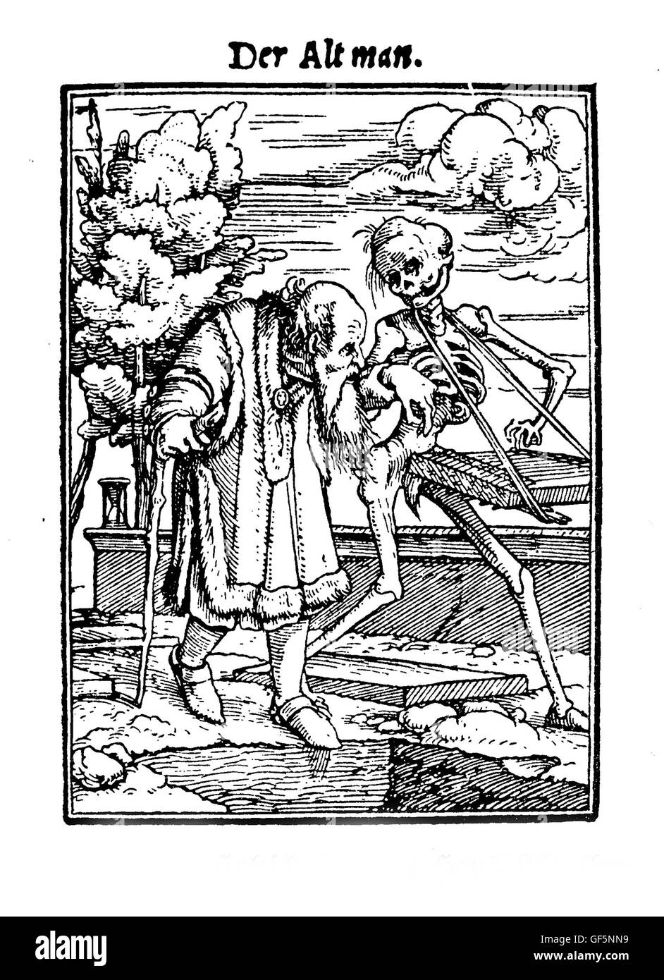 XV century, Illustration by Hans Lützelburger inspired to Hans Holbein's 'Totentanz' ('La danse - Stock Image