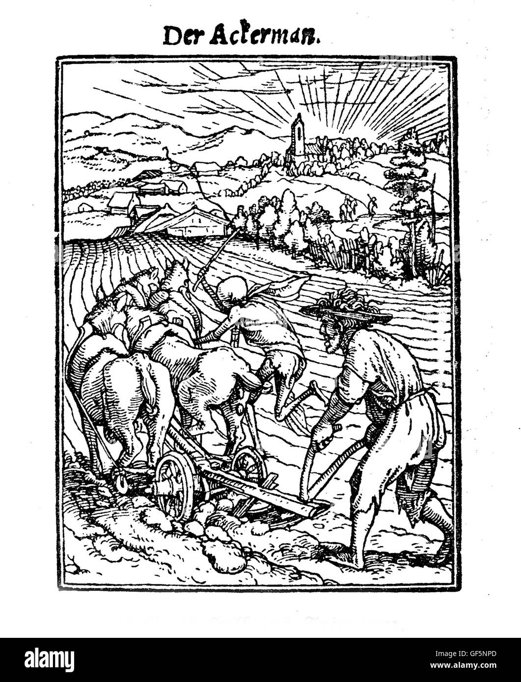XV century, Death as the plower, illustration inspired to Hans Holbein's 'Totentanz' ('La danse - Stock Image