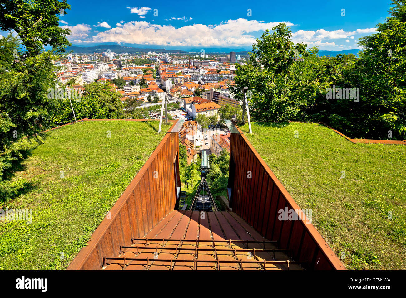 Funicular of Ljubljana and city aerial view, capital of Slovenia Stock Photo