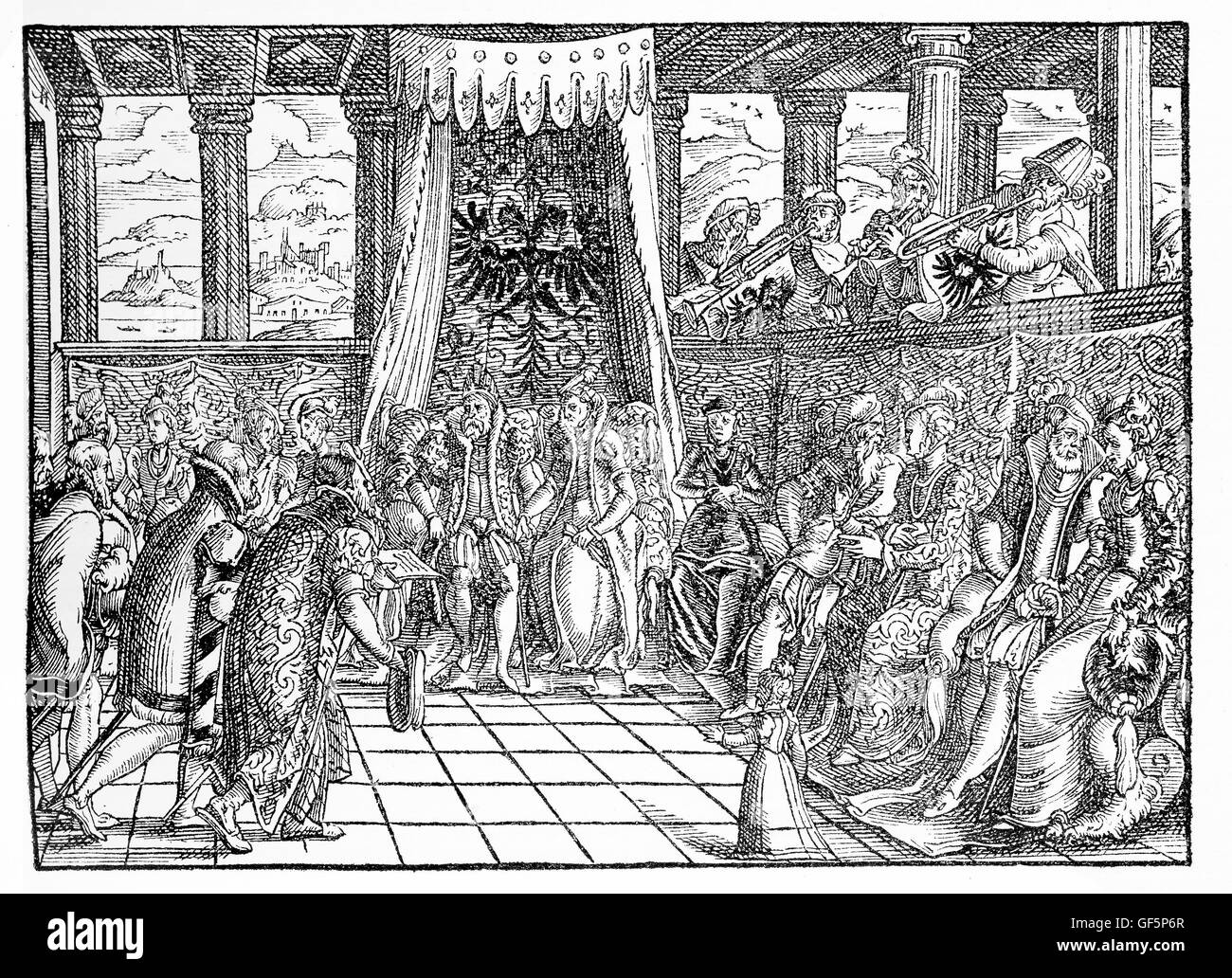 XVI century, messengers in front of the Emperor. the Emperor is not explicitly named in the text, yet the double - Stock Image