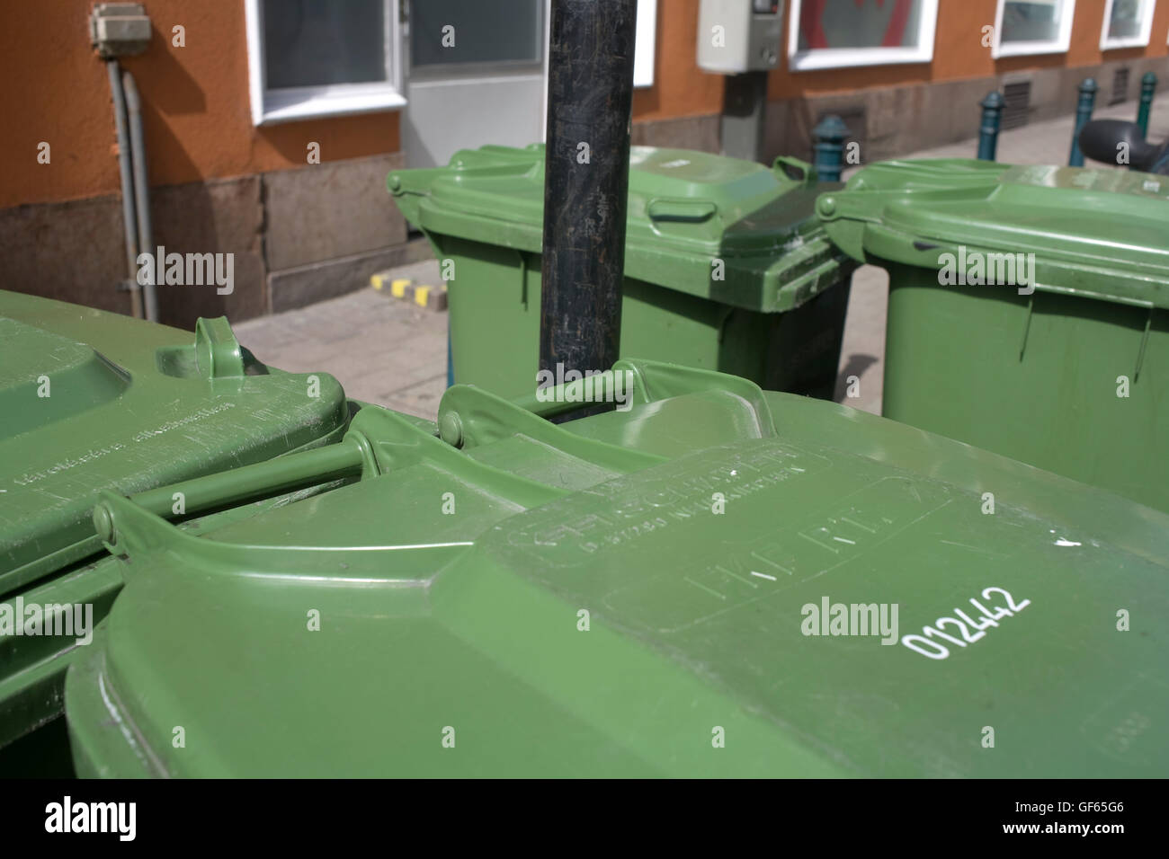 Green rubbish bins on Tompa Utca - Stock Image
