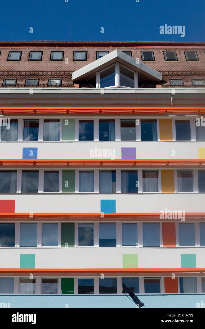 Heim Pal Korhuz multi colour apartment block on Ulloi utca - Stock Image