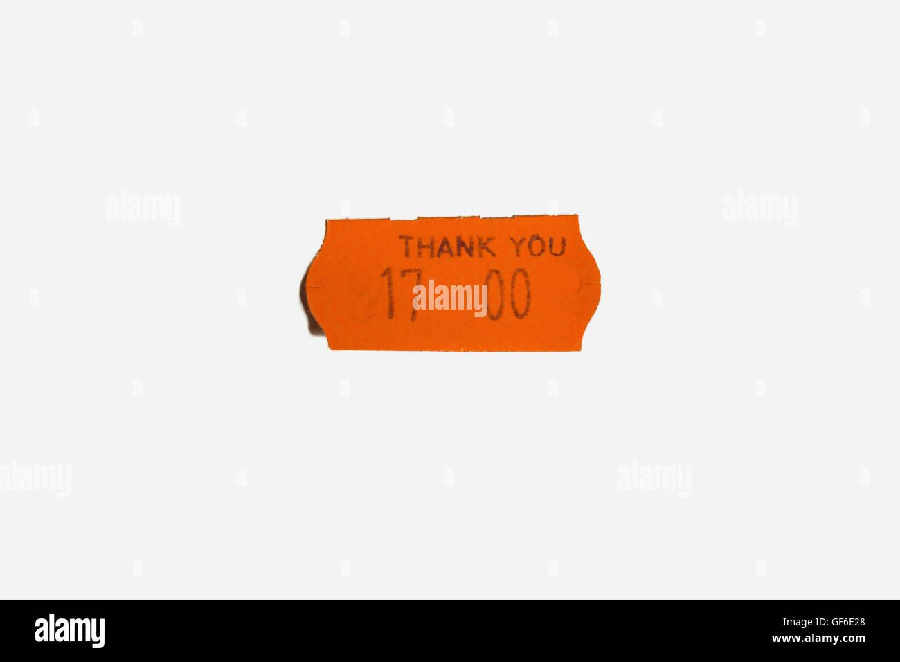 Orange sticker on a white background isolated - Stock Image
