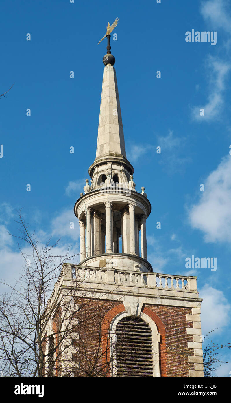 St Mary Rotherhithe, London. Rebuilt in 1714 to 1715, to a design by John James. Spire attributed to Lancelot Dowbiggin - Stock Image