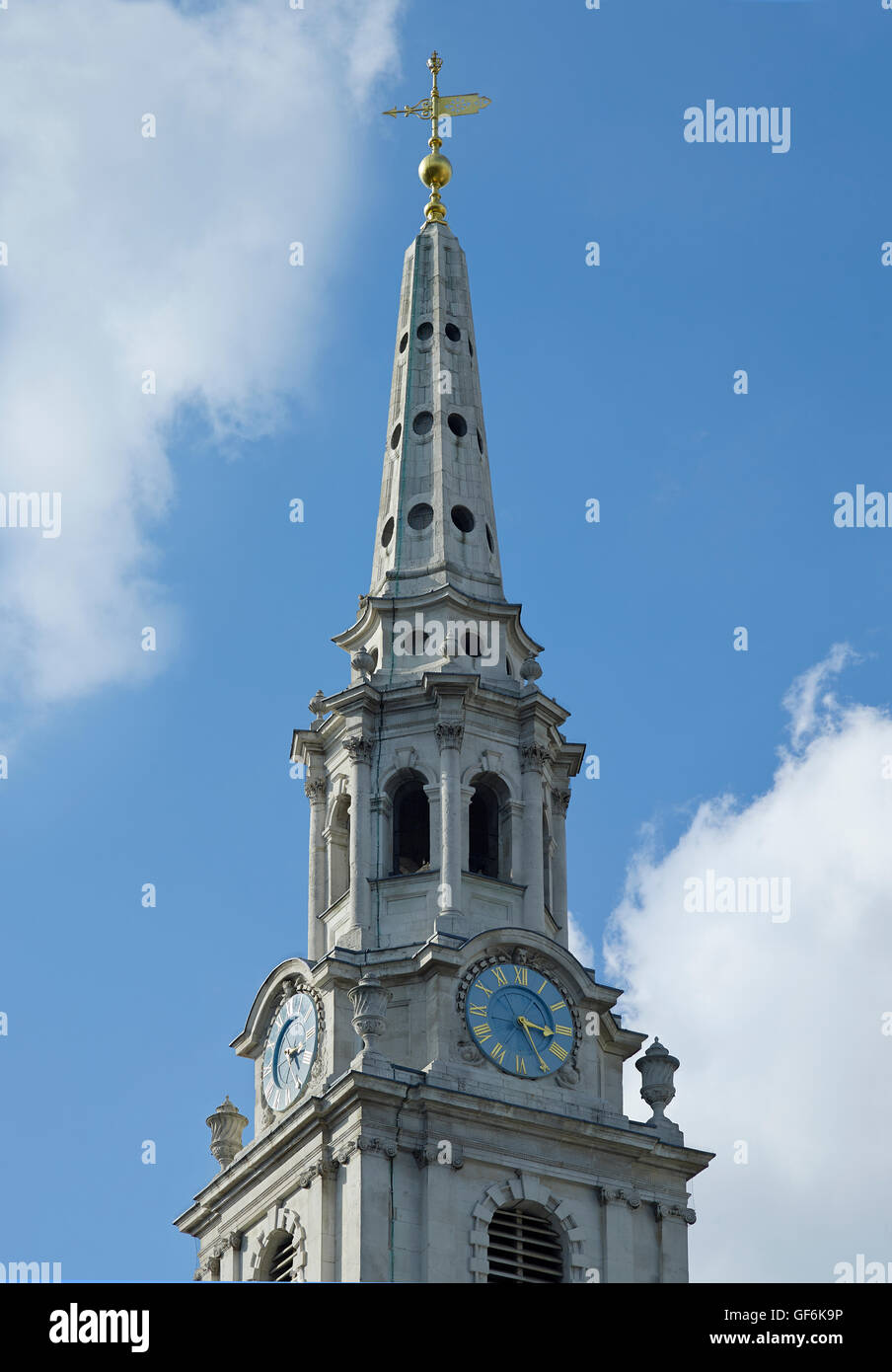 St Martin In The Fields spire; by James Gibbs 1720-26. - Stock Image