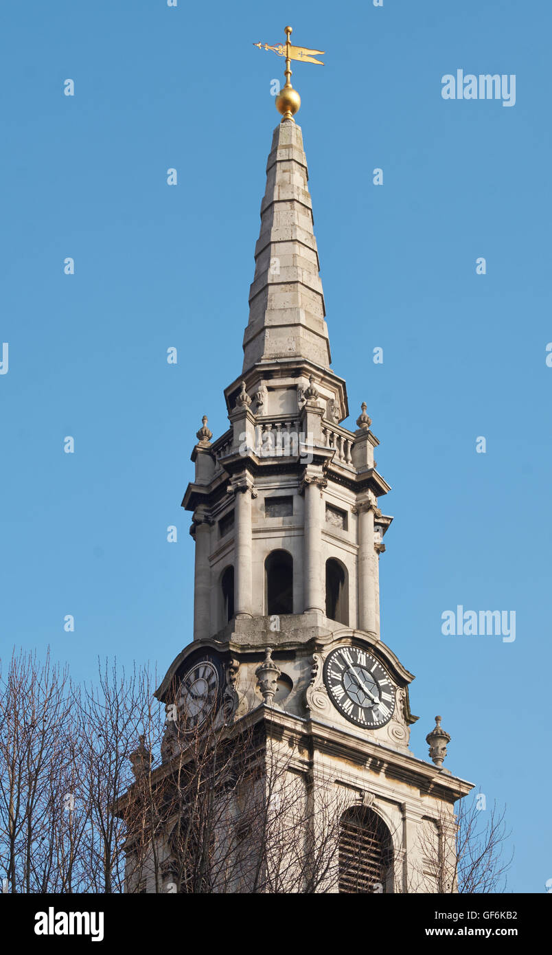St Giles in the Fieds, London, steeple and spire; by Henry Flitcroft, 1731-33. - Stock Image