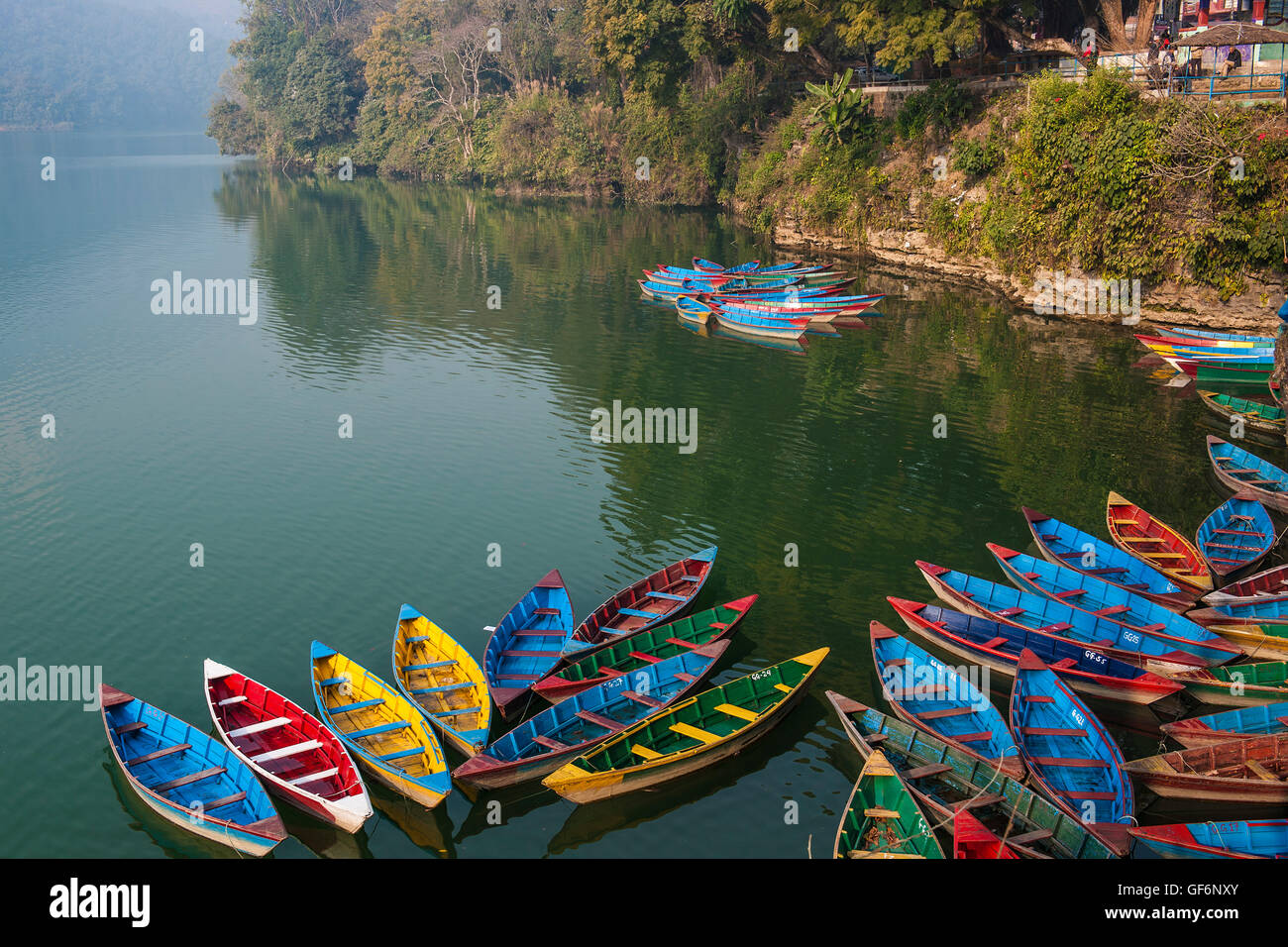 Nepal, Pokhara, local lake, boats - Stock Image