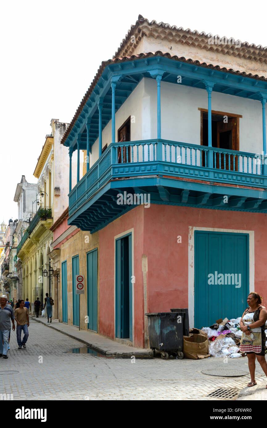 Calle Cuba, Old Havana (La Habana Vieja), Havana, Cuba - Stock Image