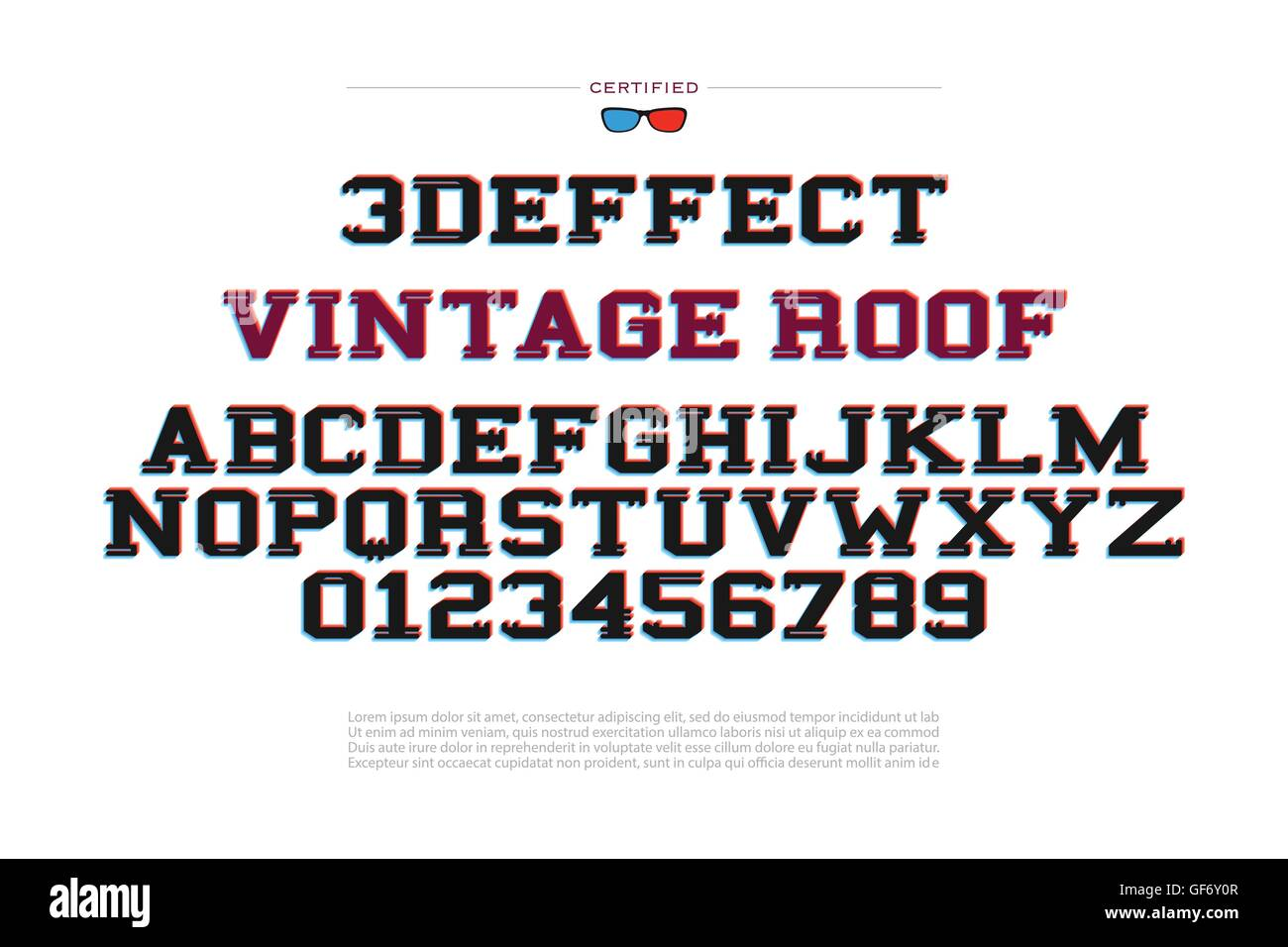 3d Illusion Alphabet Letters And Numbers Effect Vector Font Type Design Glitch Style Lettering Modern Stereoscopic Typeset