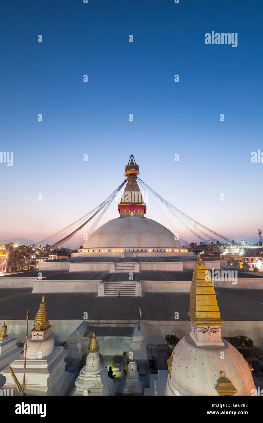 Sunset at Boudhanath stupa, Kathmandu, Nepal - Stock Image