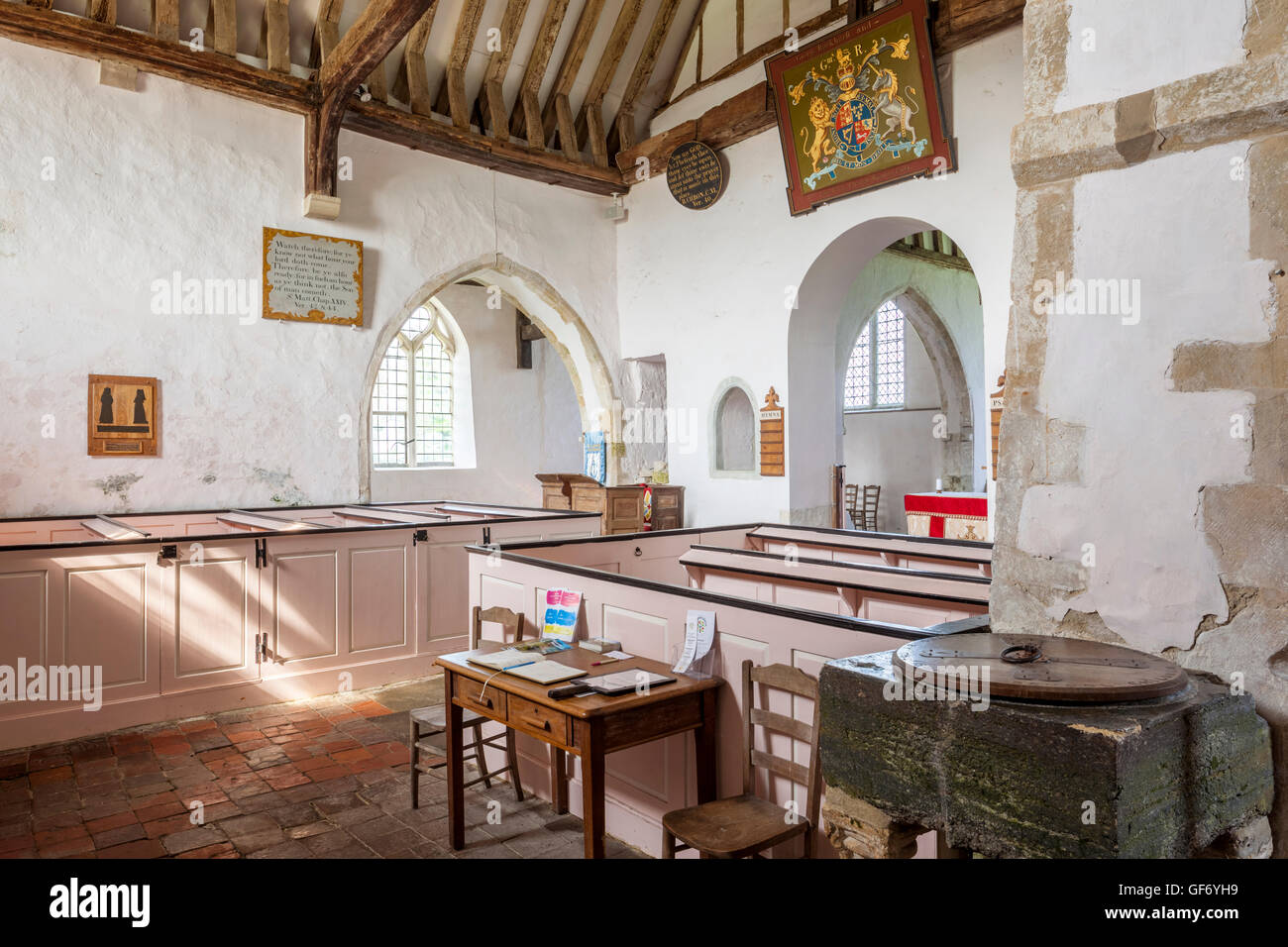 The interior of St Clements church in the Romney Marsh village of Old Romney, Kent UK . - Stock Image
