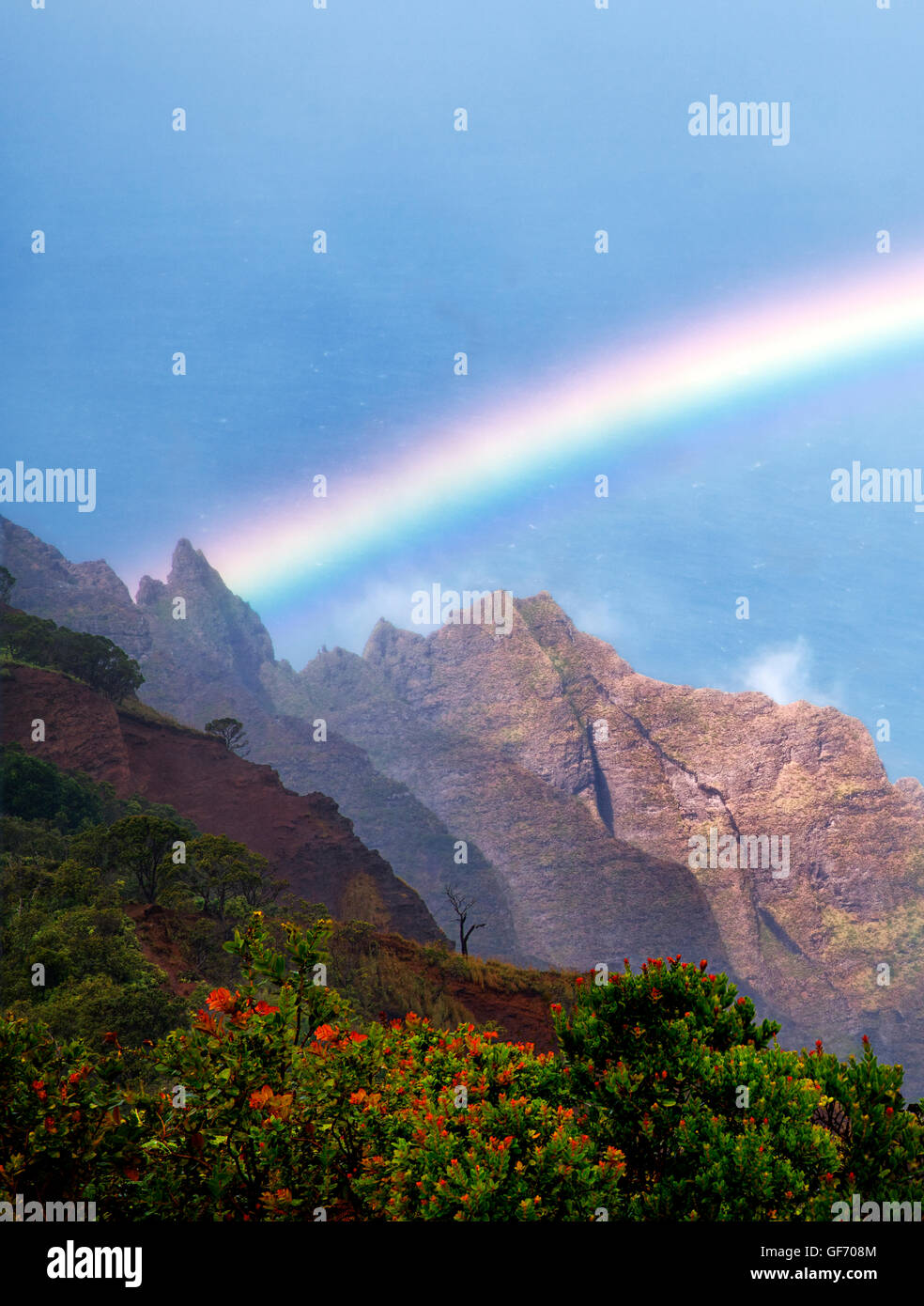 Rainbow as seen from Kalalau Lookout. Waimea Canyon. Kauai, Hawaii,ocean,oceans,oceanic,sea,seas,seascape, seascapes,beach,beach - Stock Image
