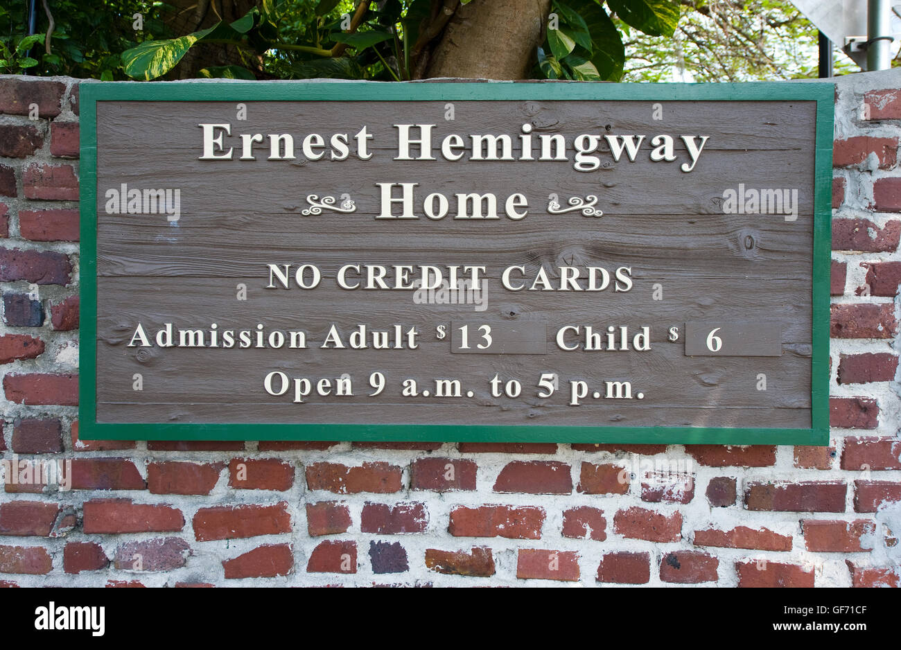 KEY WEST, FLORIDA, USA - MAY 02, 2016: Entrance of the Hemingway House in Key West in Florida. Stock Photo