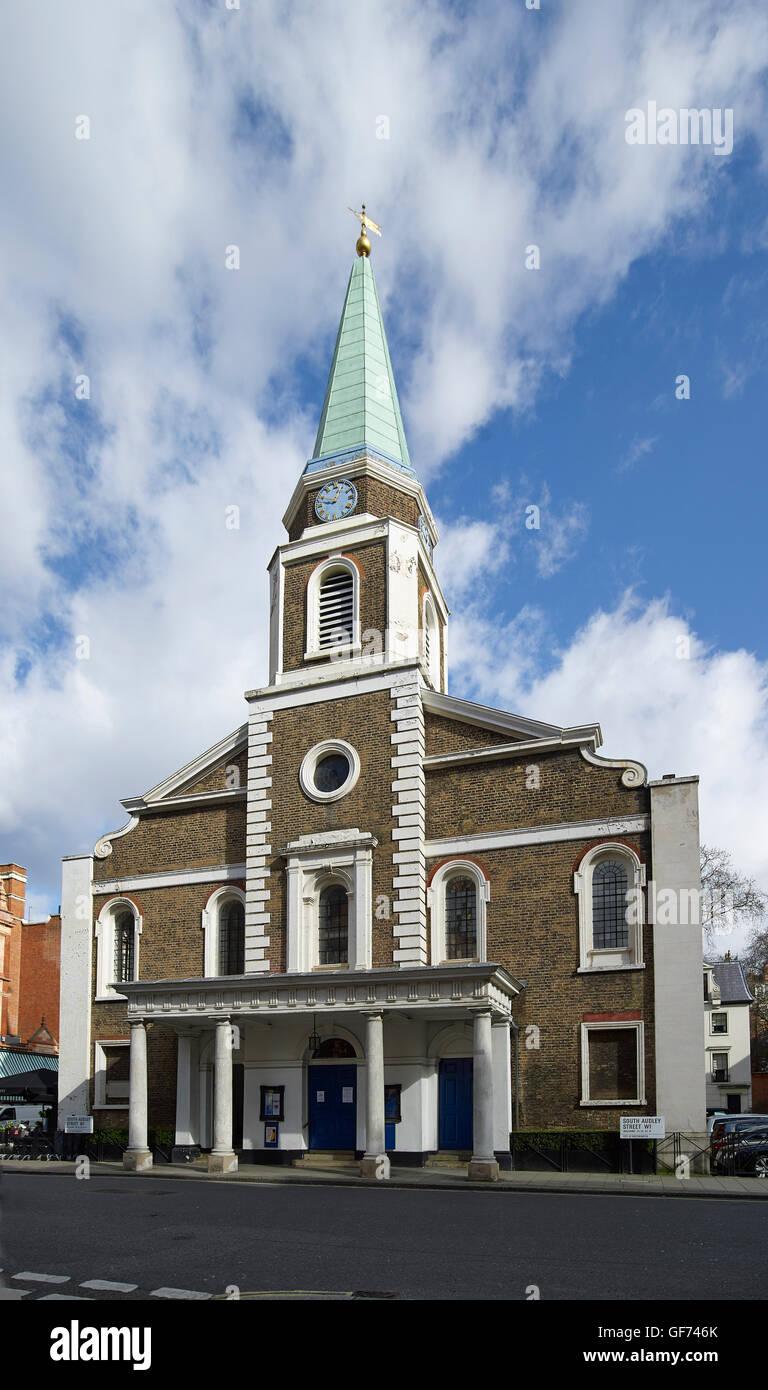 The Grosvenor Chapel, Mayfair, London. Designed and buitl by Benjamin Timbrell for Sir Richard Grosvenor. 1730-31. - Stock Image