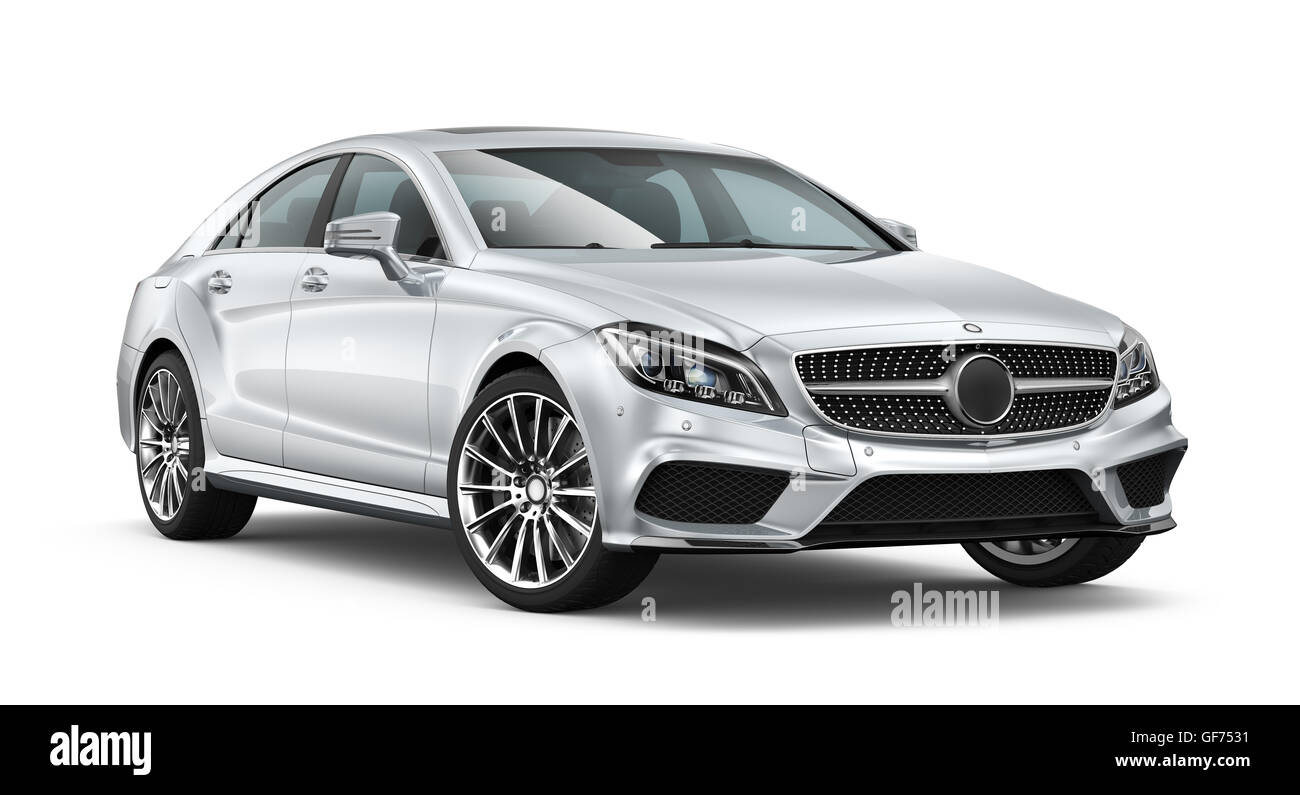 Silver modern car - Stock Image