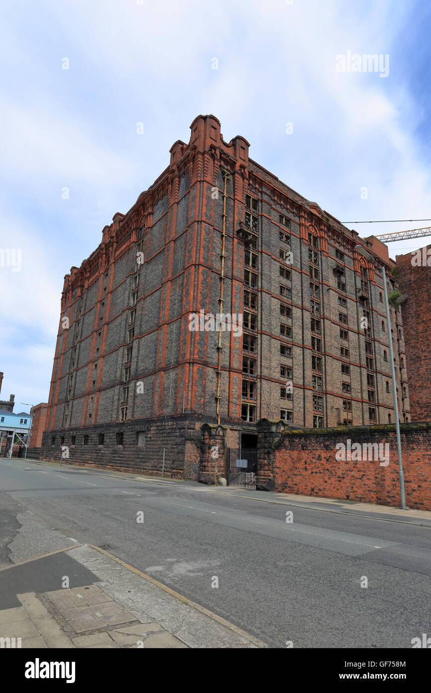 Tobacco Warehouse under development in to apartments, Stanley Dock, Liverpool, Merseyside, England, UK. Stock Photo