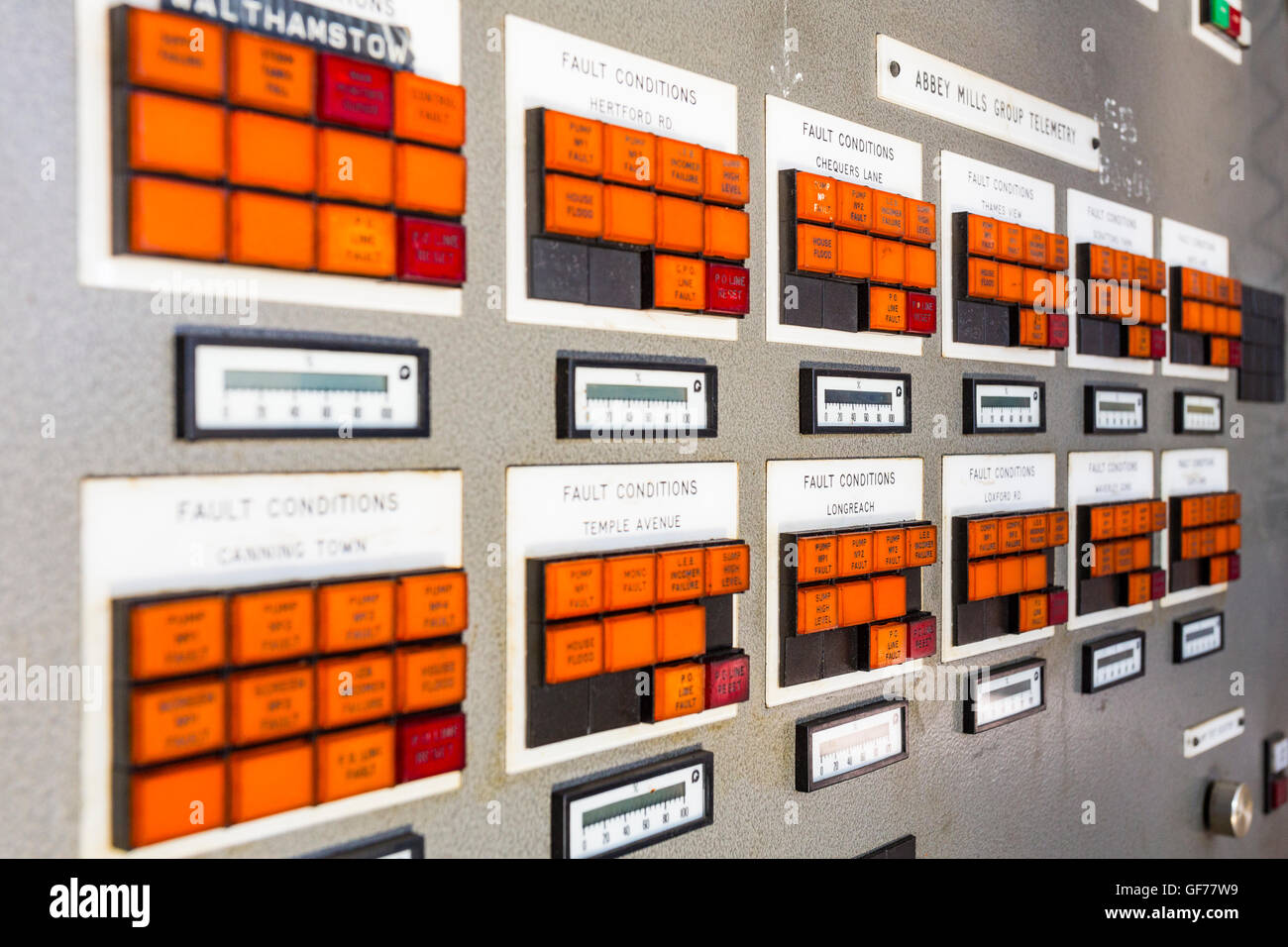 Control panels, Abbey Mills Pumping Station, London, England, United Kingdom - Stock Image