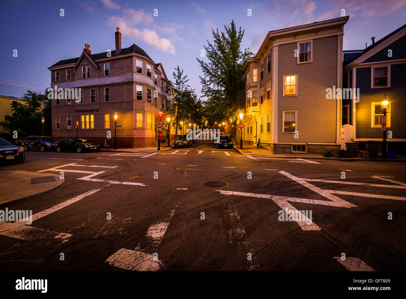 Intersection in Bunker Hill, Charlestown, Boston, Massachusetts. - Stock Image