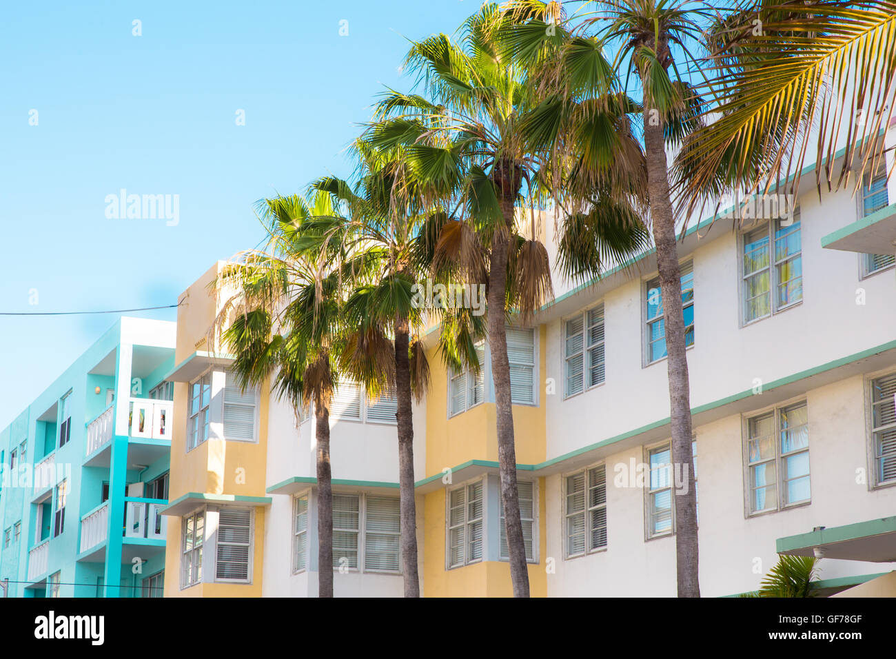 view of typical art deco style apartment building exteriors from South Beach Miami Florida - Stock Image