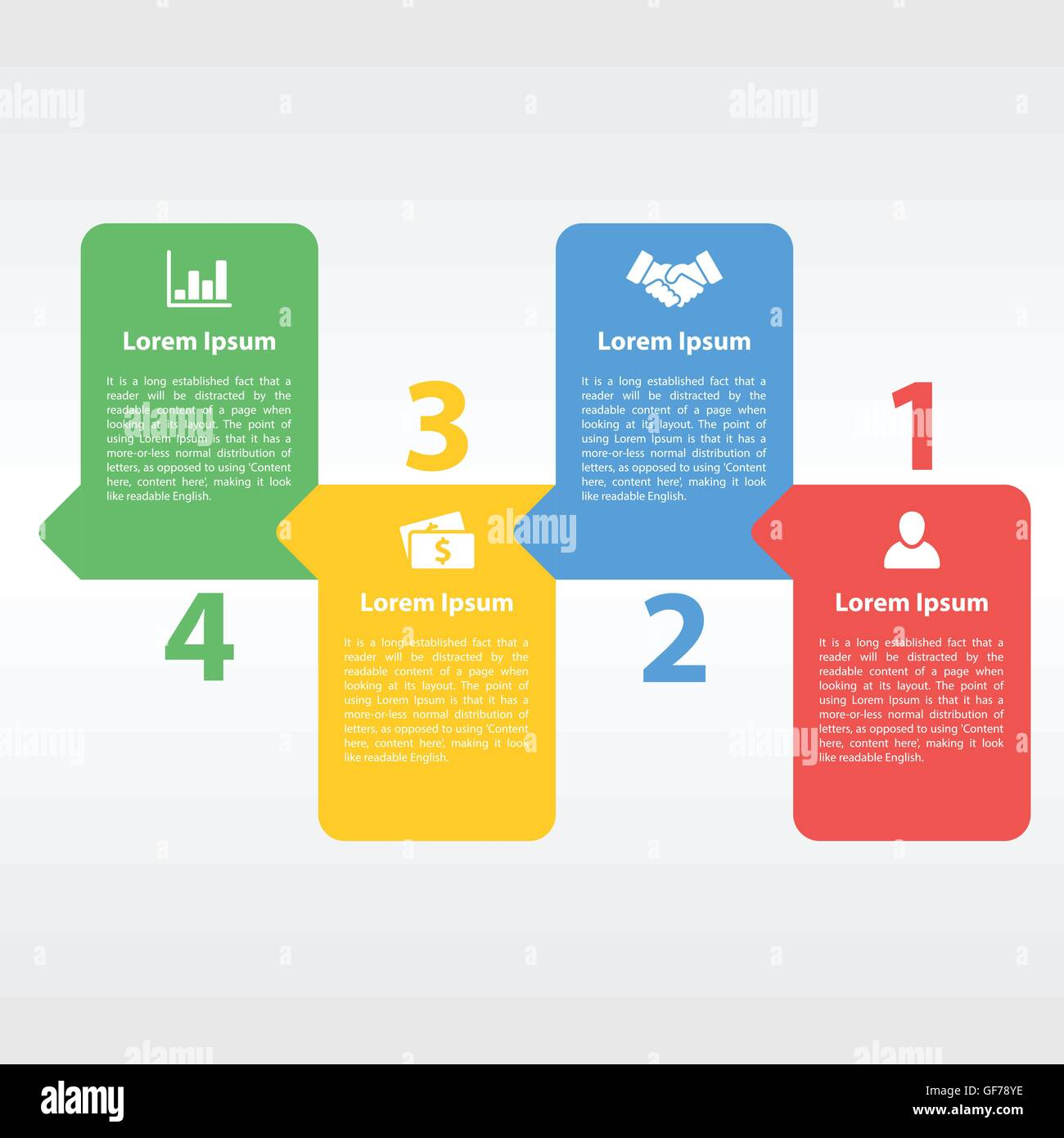four steps sequence process diagram infographic layout concept