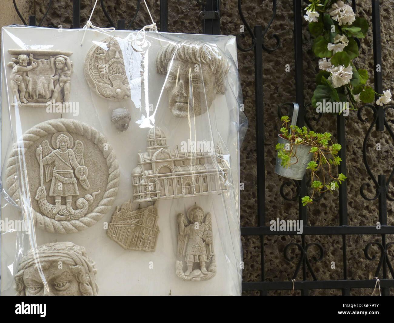 Religious items for sale outside theater Sibernik,Croatia - Stock Image
