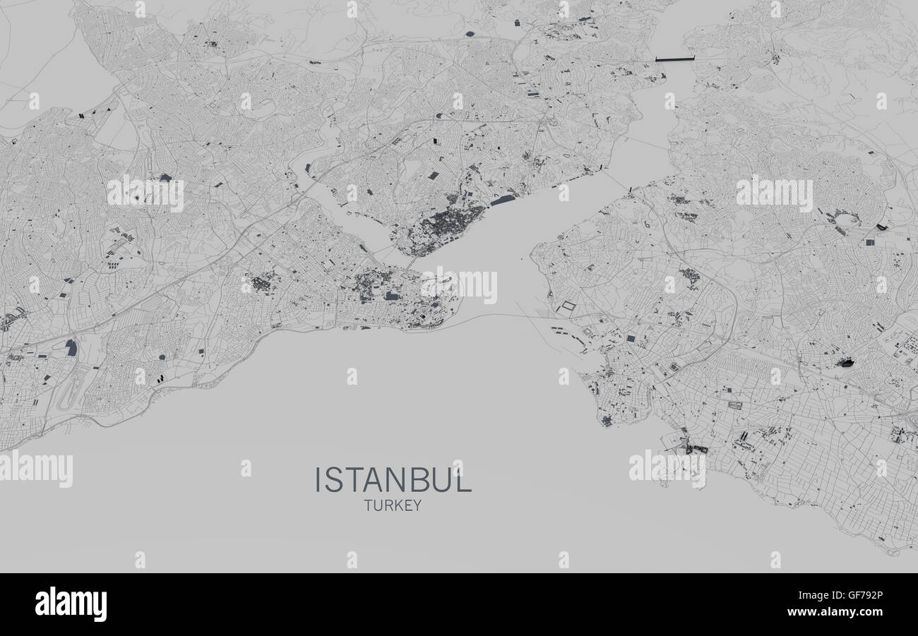 Istanbul map, satellite view, city, Turkey - Stock Image