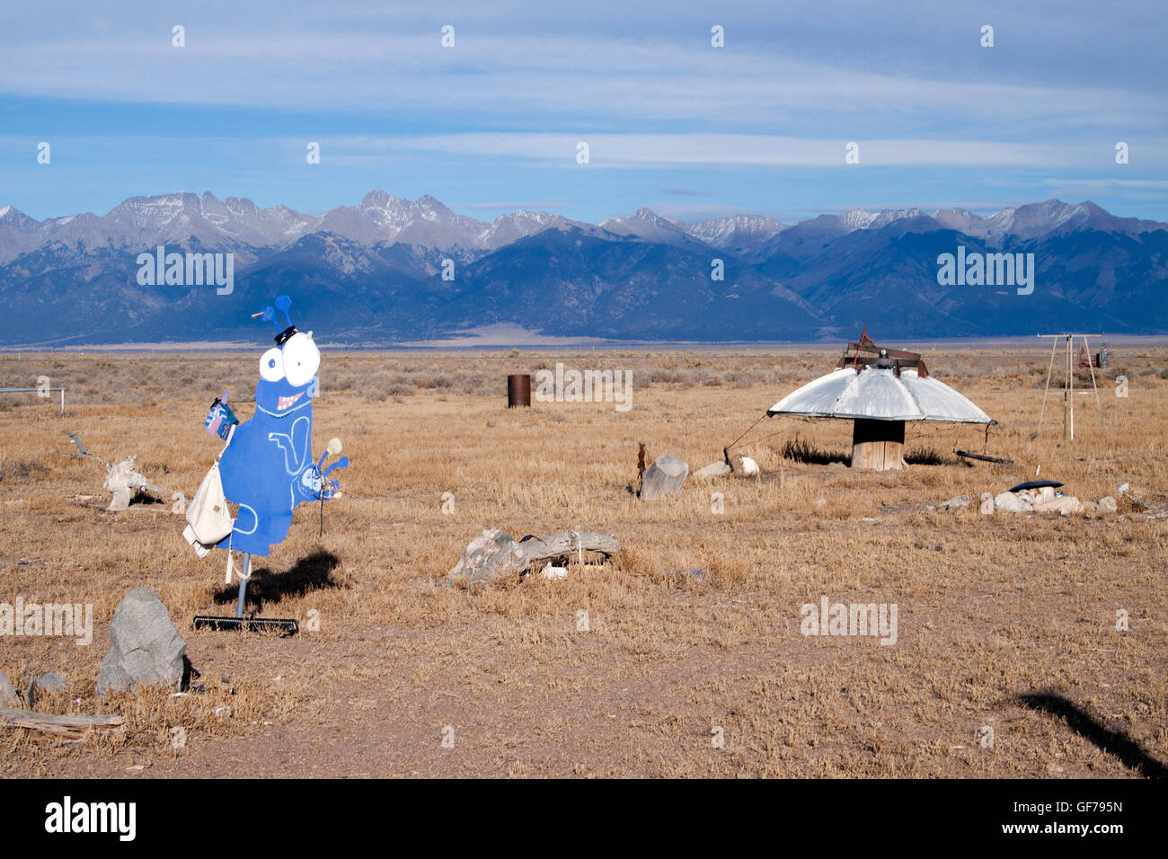 UFO watch tower in Hooper Colorado Stock Photo