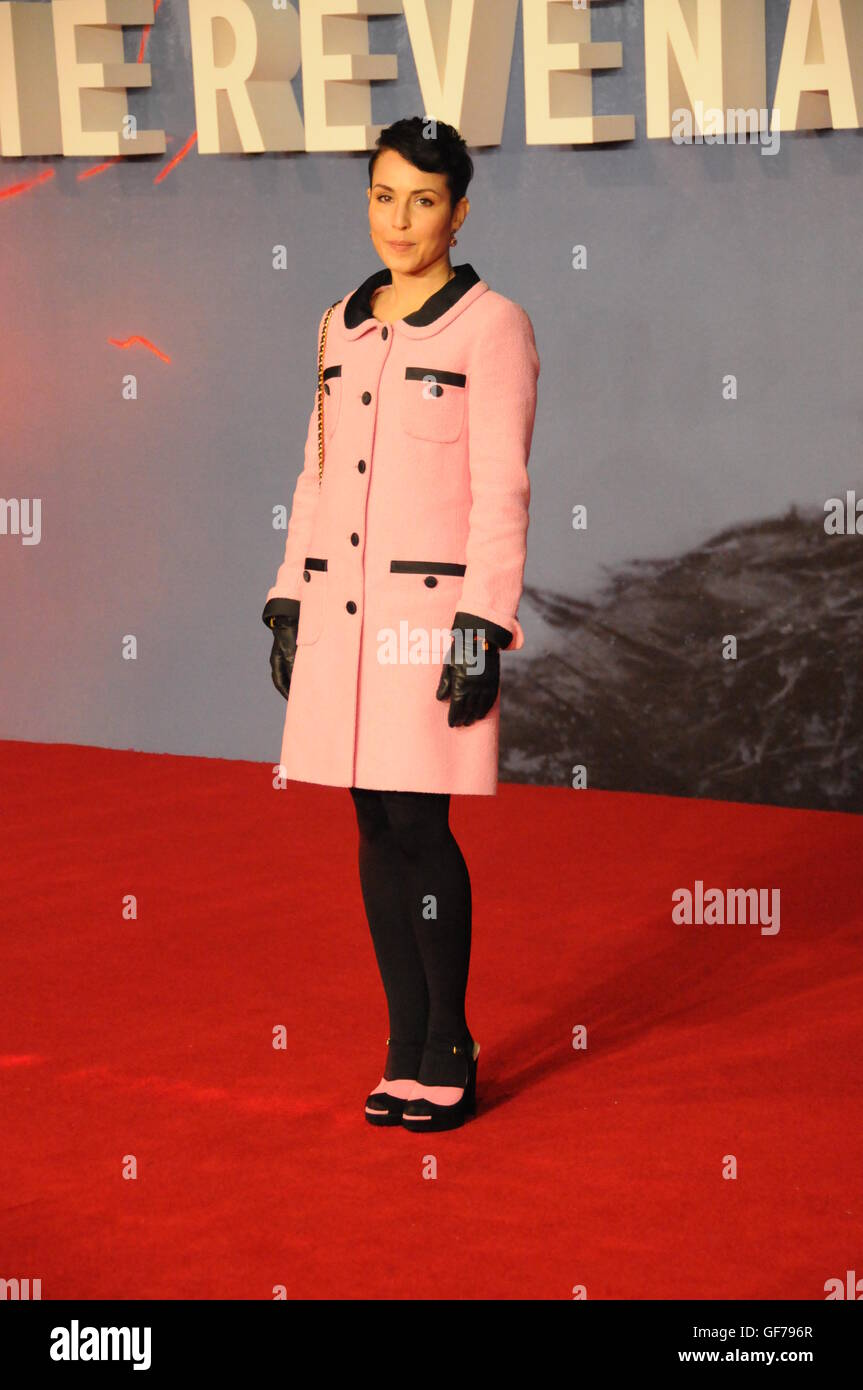 The actress Noomi Rapace, at the London film premiere of The Revenant. - Stock Image
