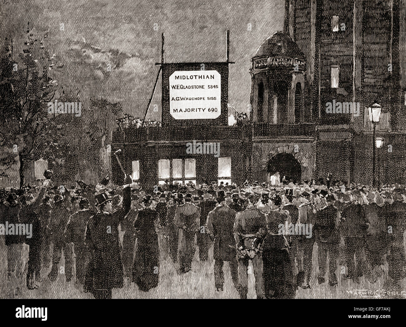 Announcing results of the General Election of 1892 at the National Liberal Club. - Stock Image