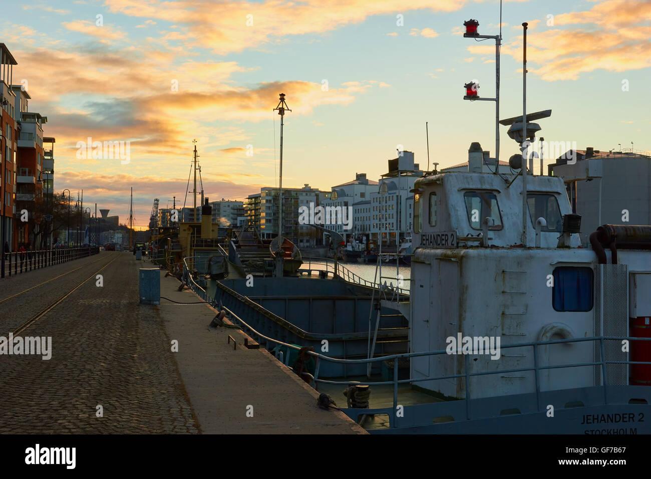 Boats moored at Hammarby Sjostad an eco neighbourhood Stockholm, Sweden, Scandinavia - Stock Image