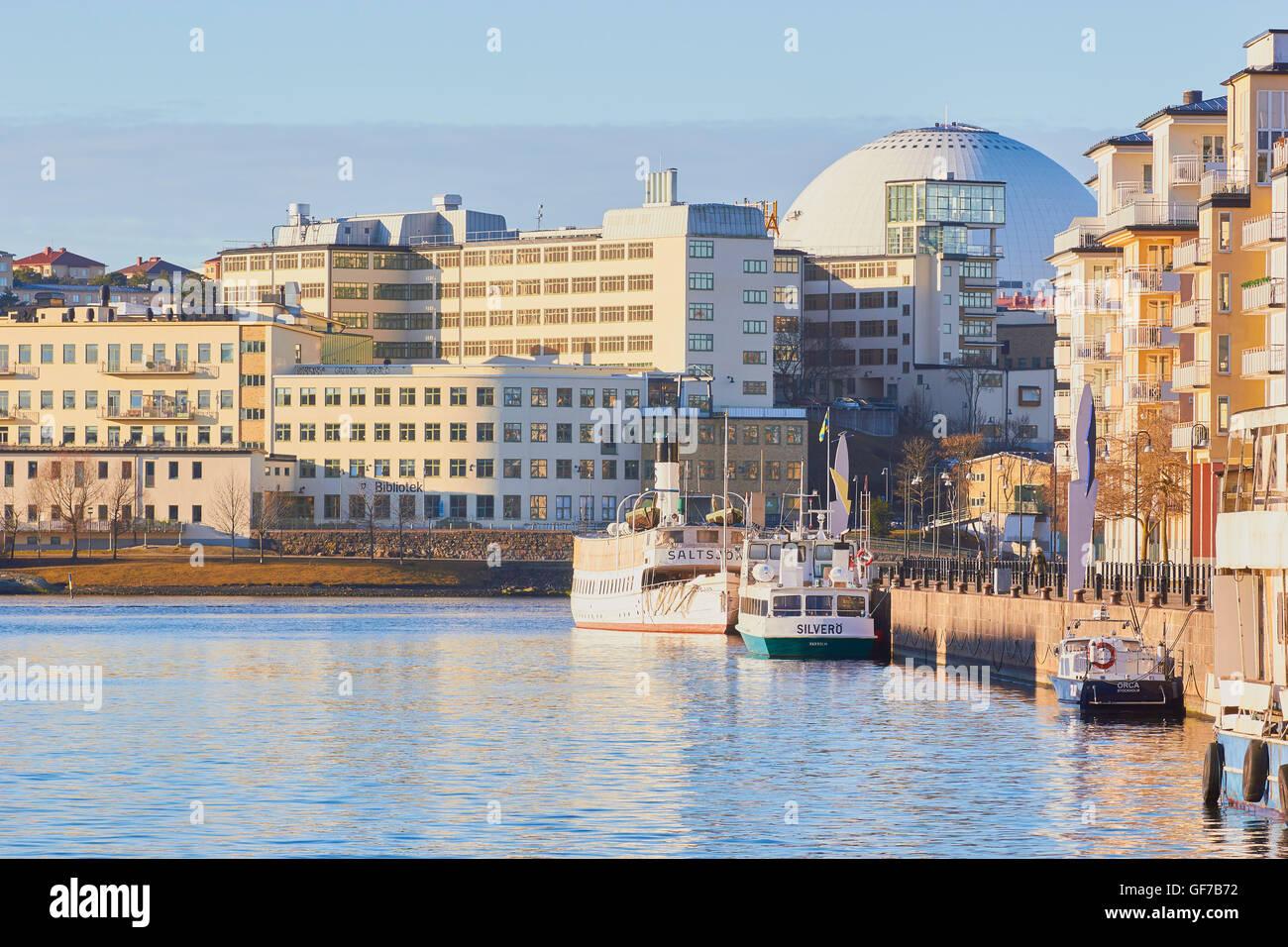 Hammarby Sjostad eco neighbourhood with Ericsson Globe Arena Stockholm Sweden Scandinavia Stock Photo