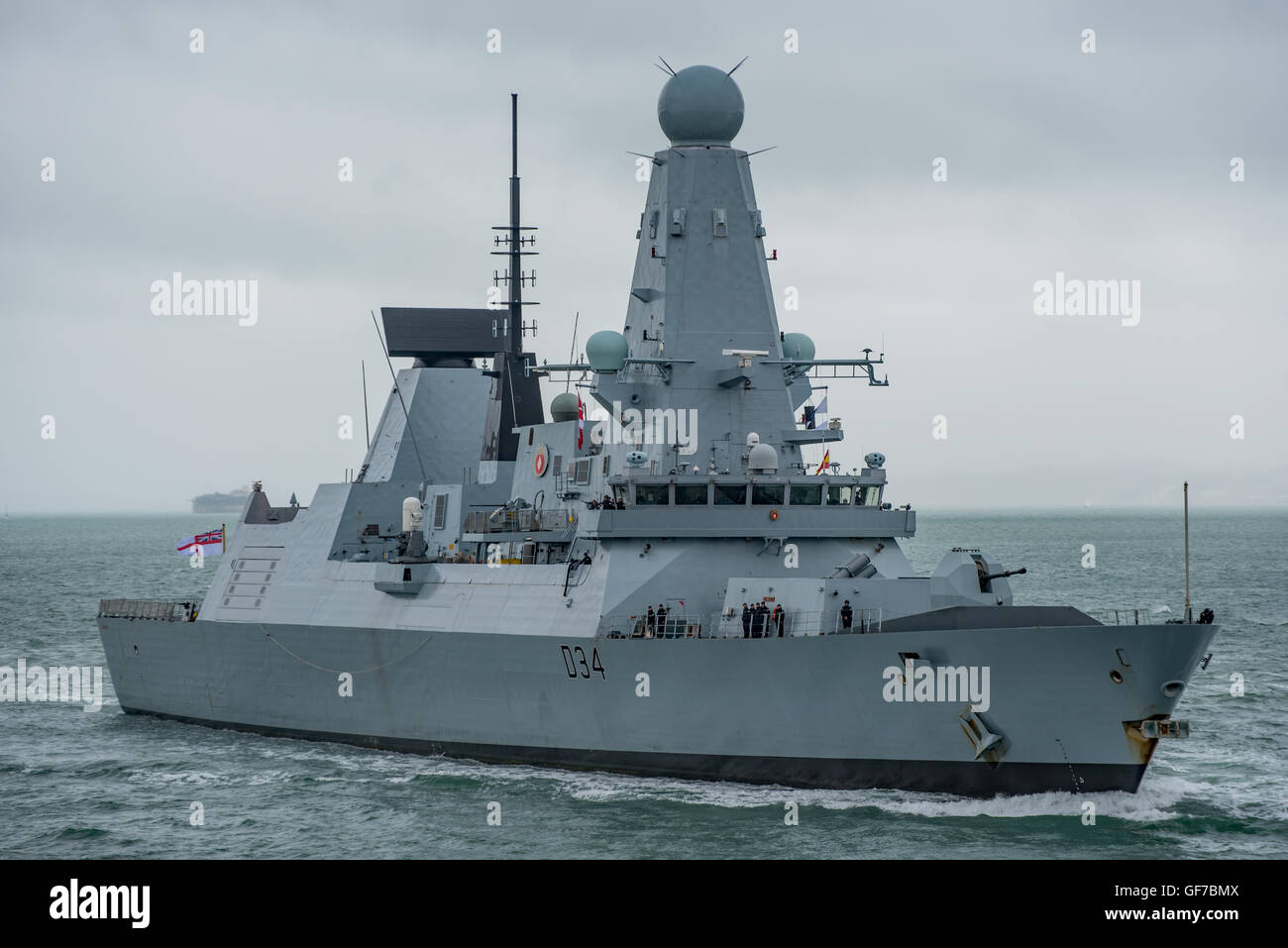 The British Royal Navy warship HMS Diamond (D34) a Type 45 destroyer arriving at Portsmouth, UK on 28th July 2016. - Stock Image