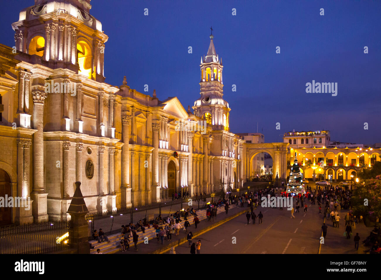 Basilica Cathedral of Arequipa located in the Plaza de Armas, Arequipa, Peru, South America Stock Photo