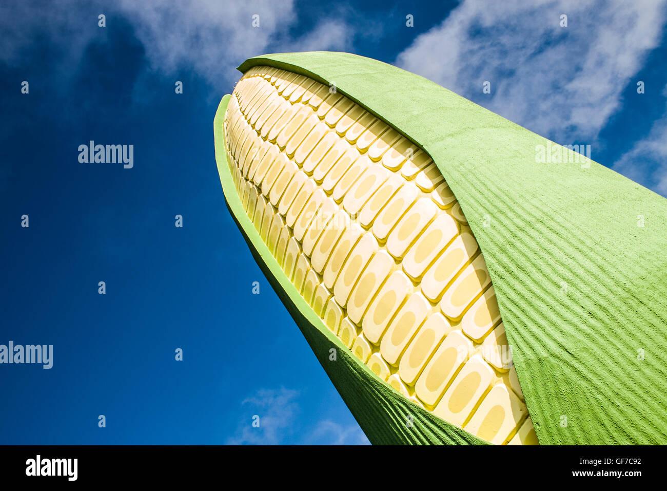 Ear of Corn Monument at Rovilho Bortoluzzi Exposition Park. Xanxere, Santa Catarina, Brazil. - Stock Image