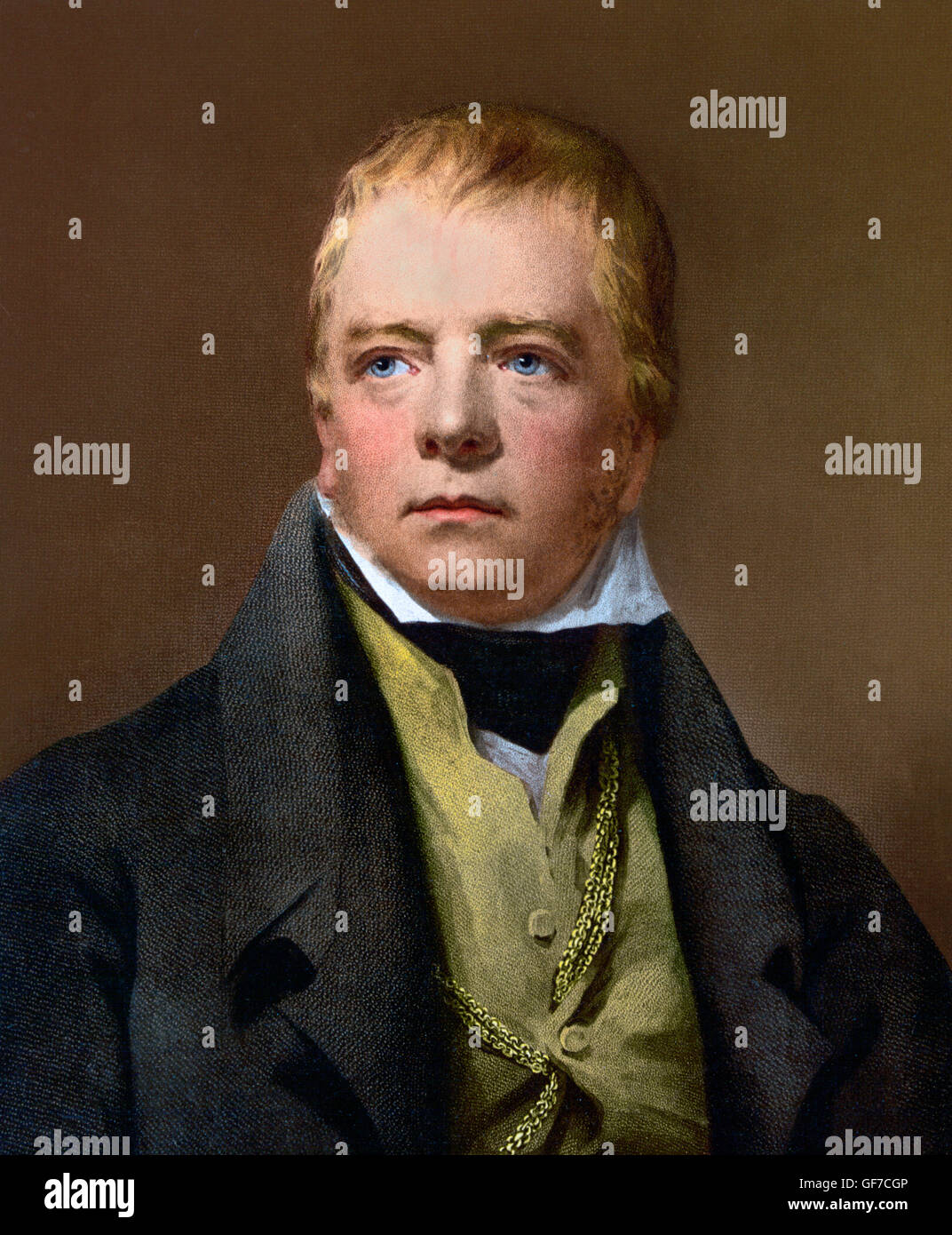 The Scottish novelist, Sir Walter Scott (1771–1832). Photomechanical print, c,1890-1900, from a painting by Henry - Stock Image