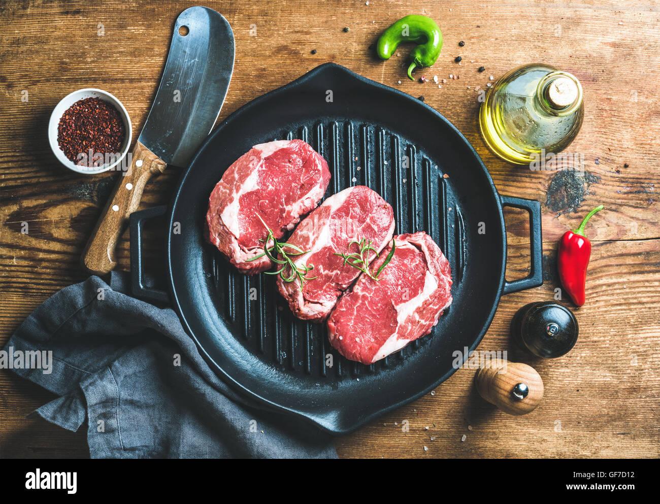 Ingredients for cooking Rib eye roast beef steak - Stock Image