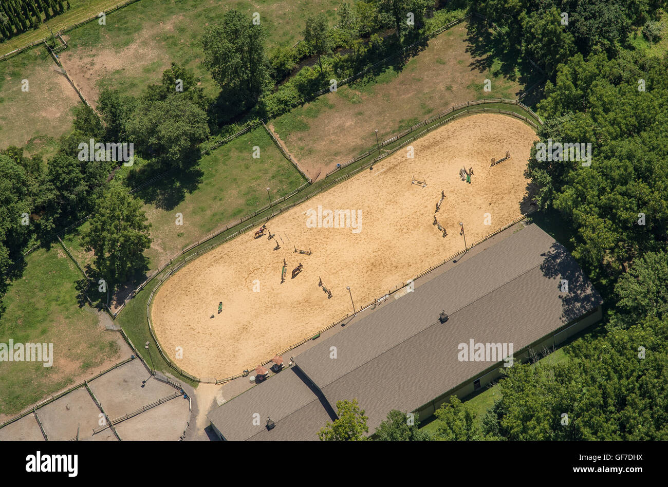 Aerial View Of Horse Equestrian Training Ring Facility - Stock Image