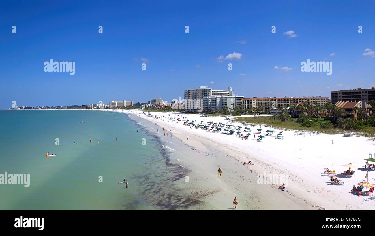 Aerial view of Siesta Key beach in Sarasota, FL - Stock Image