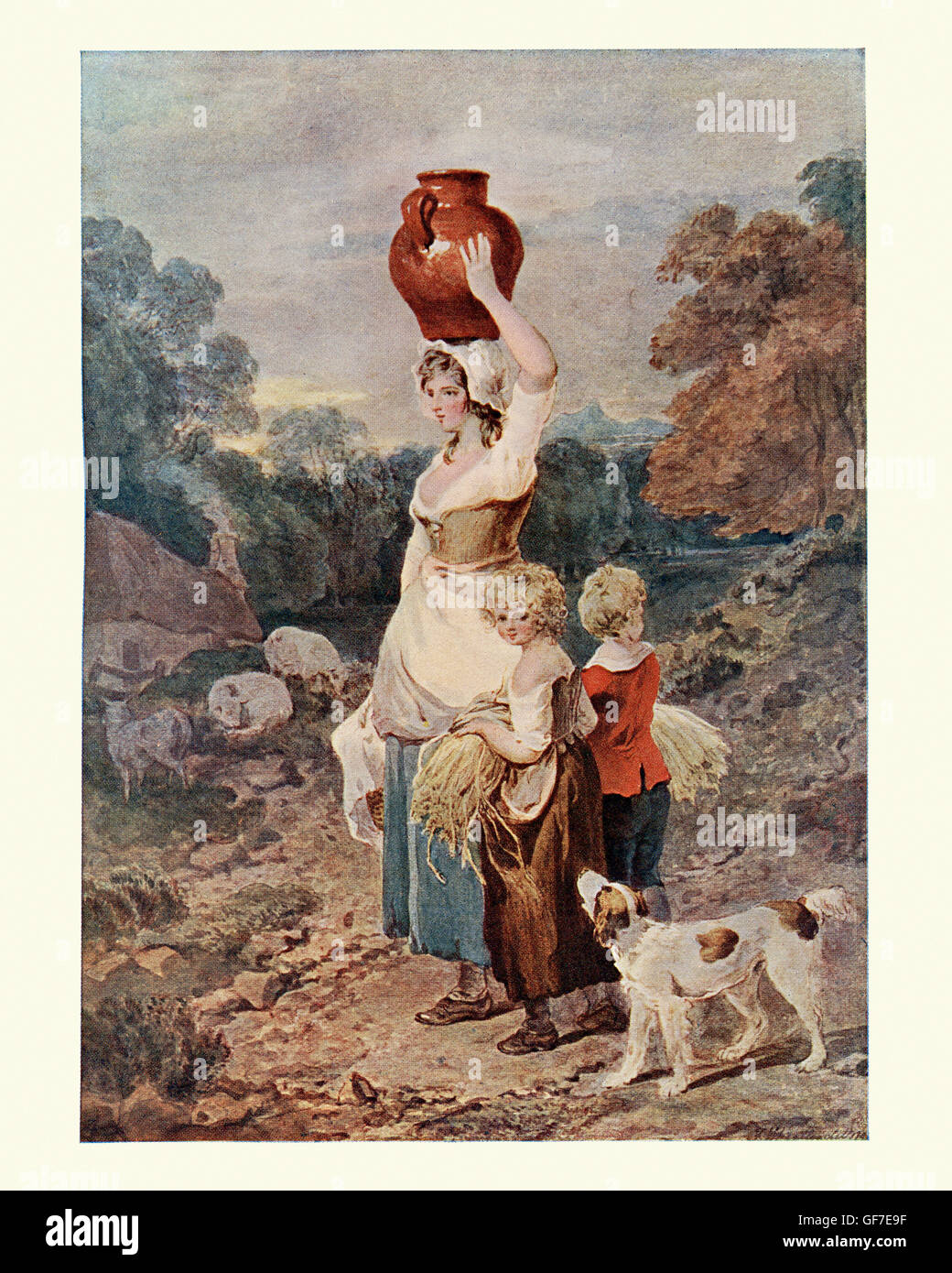 The Gleaners, after the watercolour by Francis Wheatley an English portrait and landscape painter. Gleaning is the Stock Photo