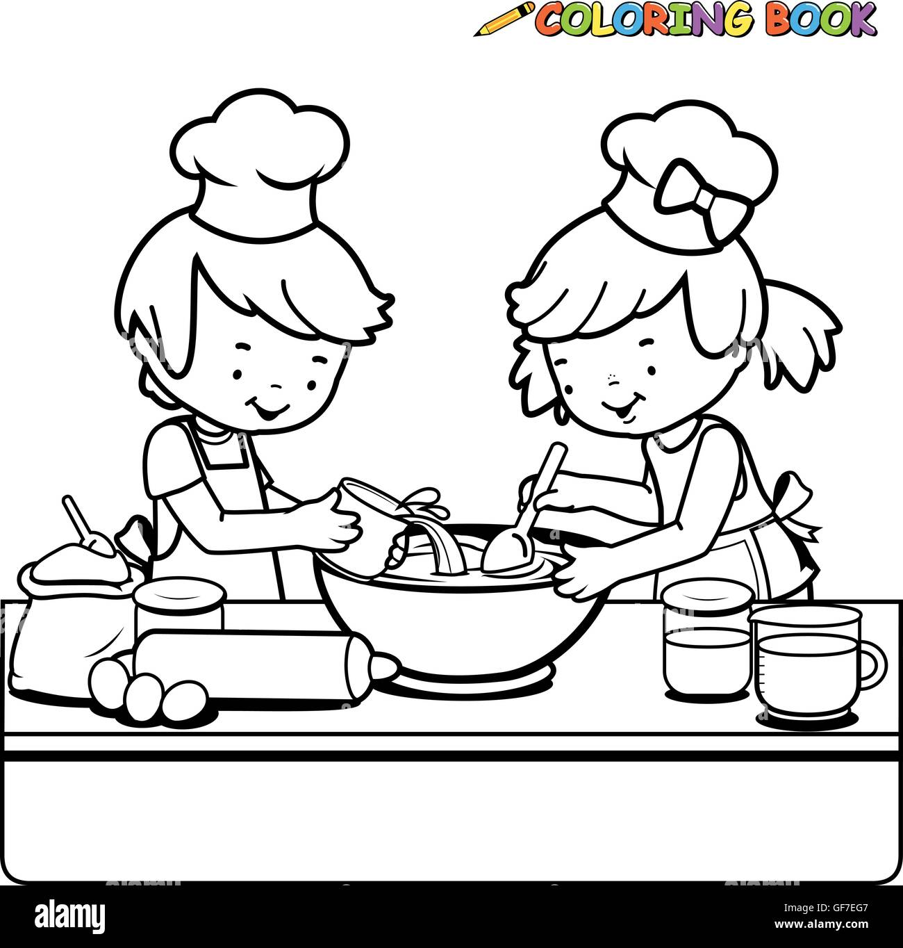 - Children Cooking Coloring Book Page Stock Vector Art
