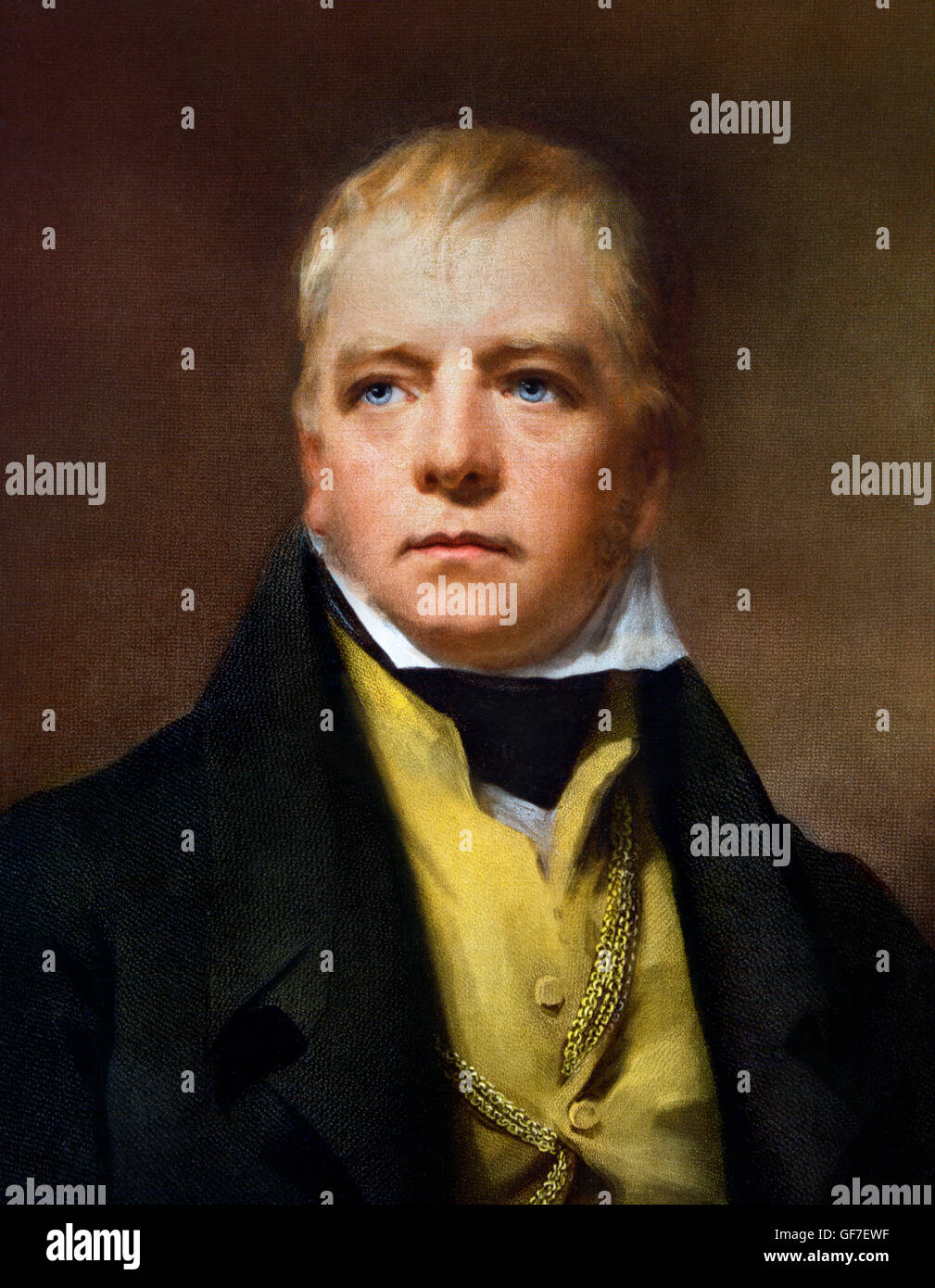 Sir Walter Scott. Portrait of the Scottish novelist Walter Scott (1771–1832) . Reproduction after a portrait by - Stock Image