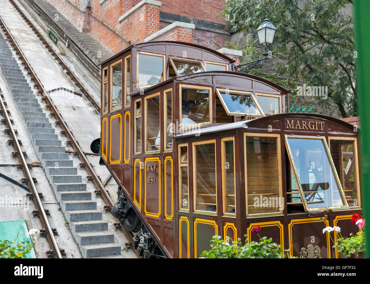Budapest castle hill funicular, Hungary Stock Photo