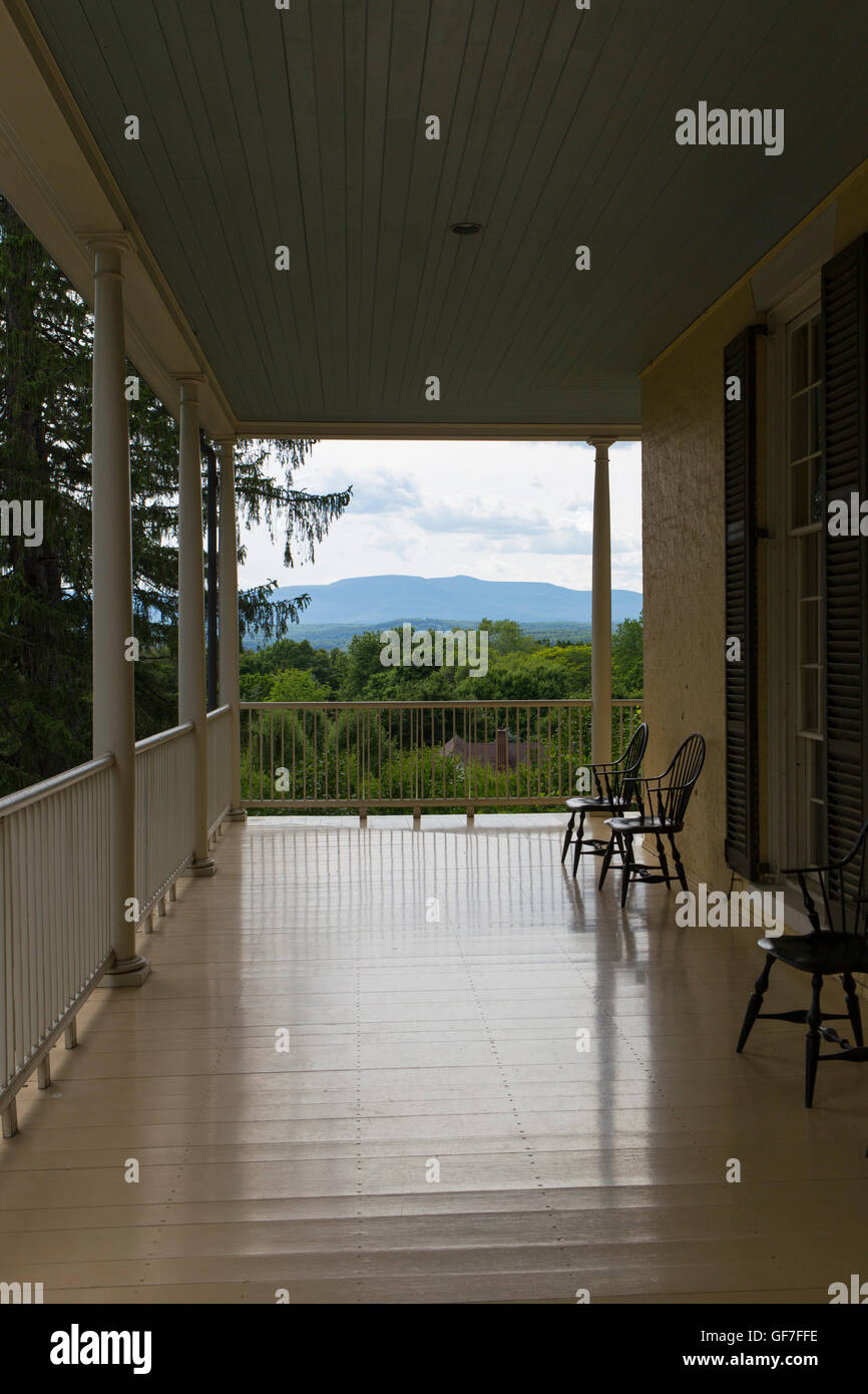Hudson River School founder Thomas Cole House Catskill New York View from the porch of the Catskil mountains - Stock Image