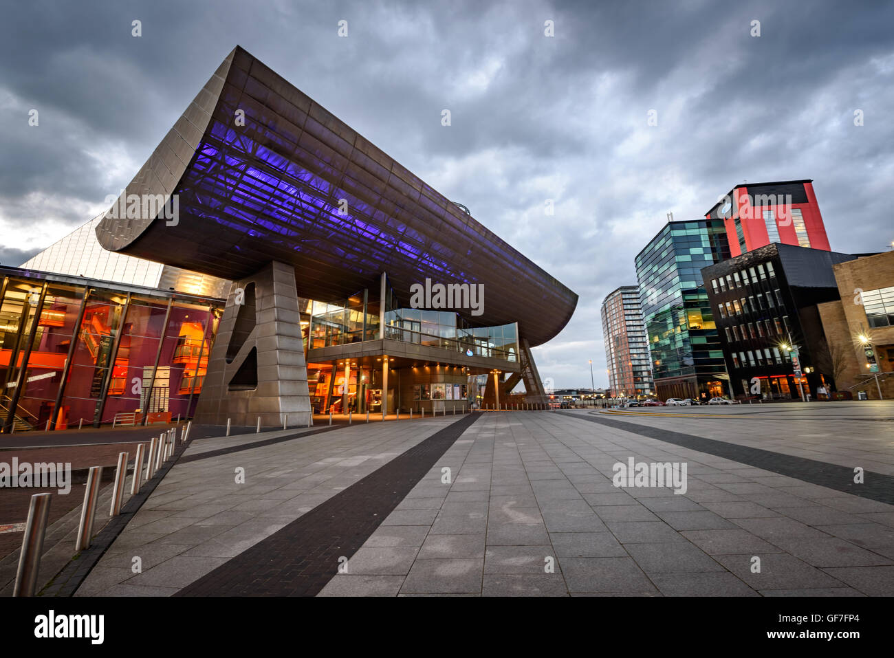 The Lowry is a theatre and gallery complex situated on Pier 8 at Salford Quays, in Salford, Greater Manchester, - Stock Image