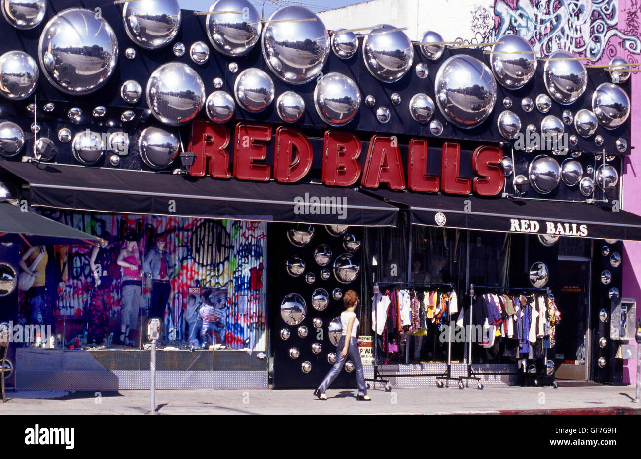Red Balls on Melrose Ave. in West Hollywood circa 1980s Stock Photo