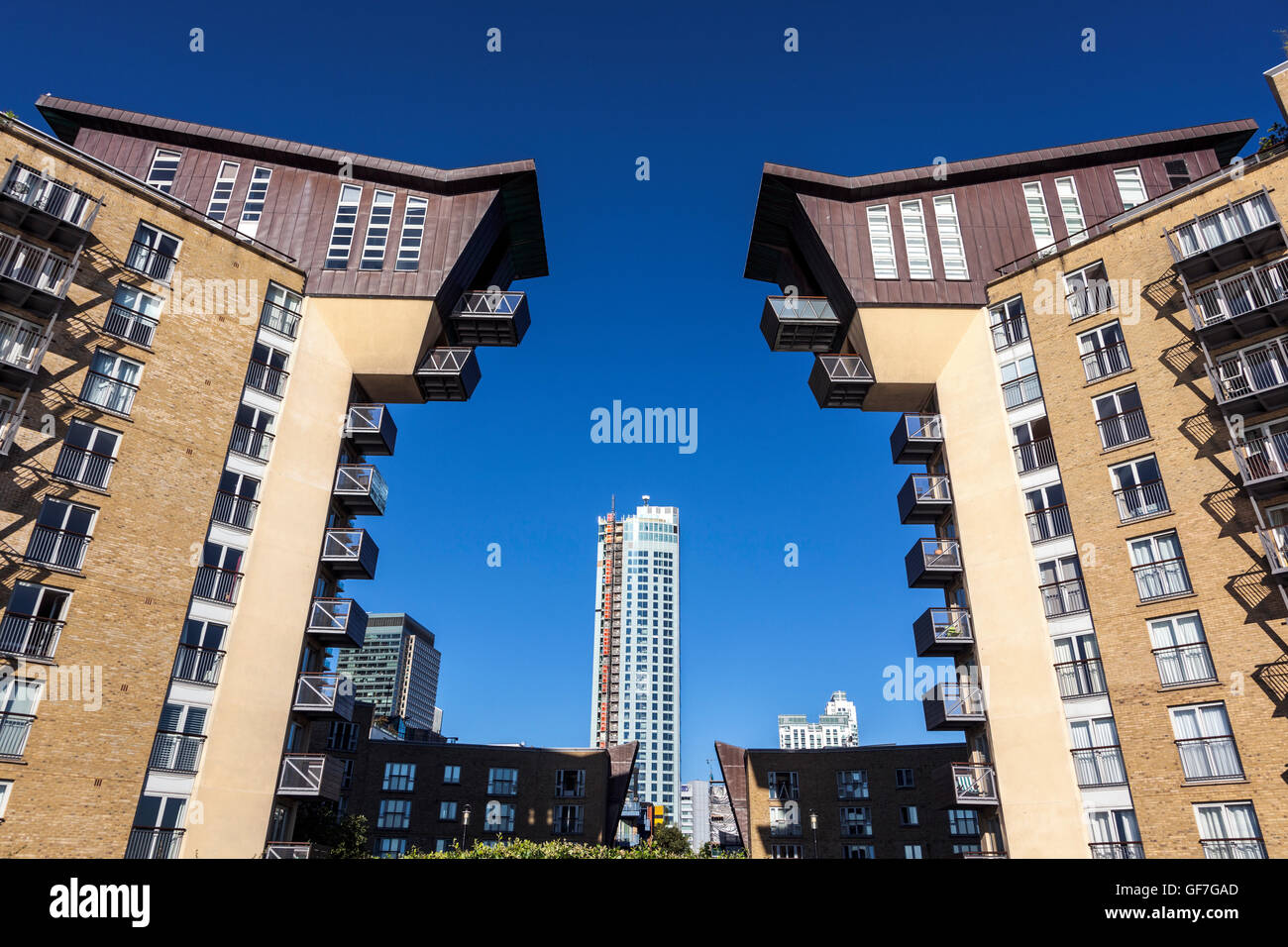 Residential blocks of Millennium Harbour Development in Canary Wharf / Westferry Road, London, UK - Stock Image