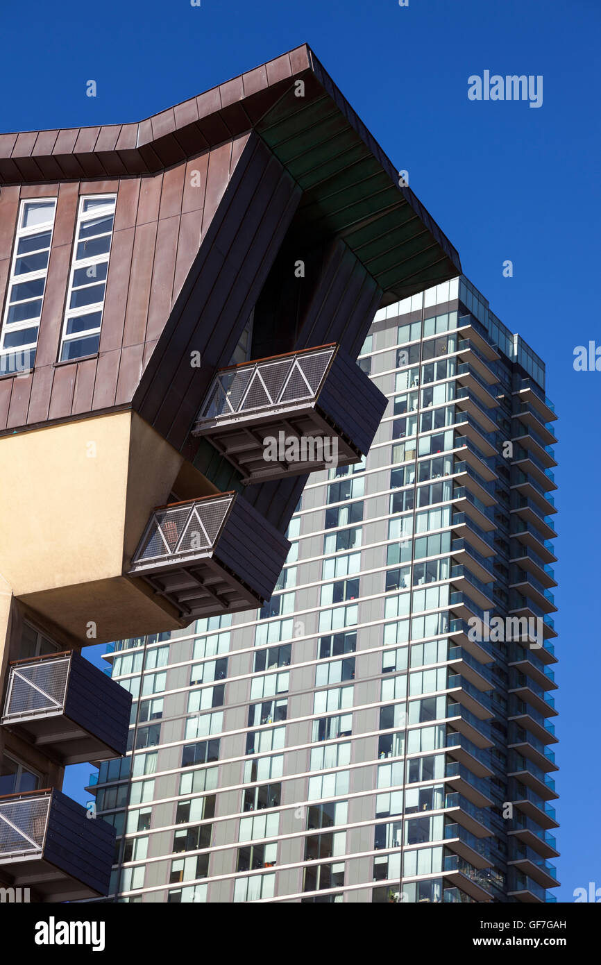 Canary Wharf architecture - detail of residential block of Millennium Harbour Development Westferry Road, London, - Stock Image