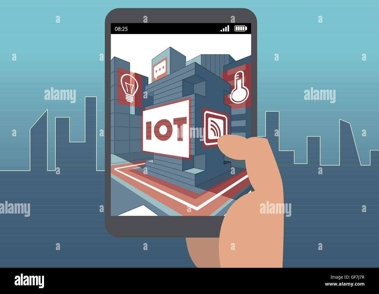 IOT and augmented reality concept with hand holding smart phone Stock Vector