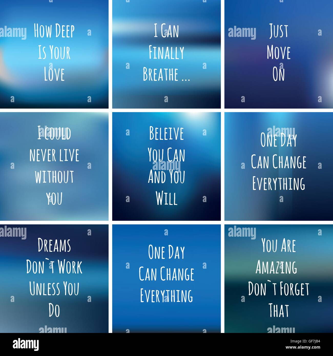 Set Of Square Blue Backgrounds With Motivational Phrases For