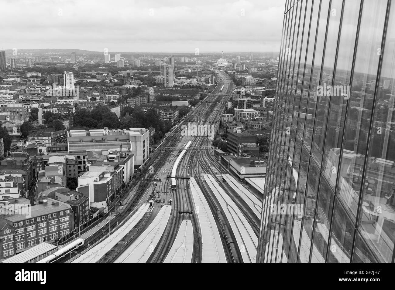 London, England - June 2016. View of train tracks and platforms from the Shard building - Stock Image